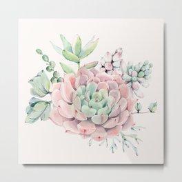 Perfect Pink Succulent Metal Print