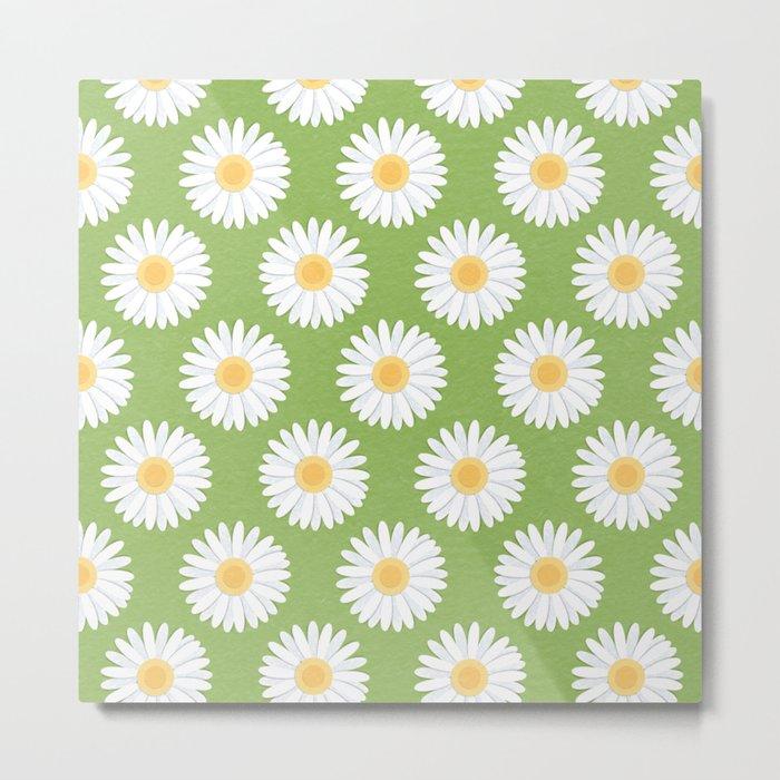 Spring Daisies_Greenery Metal Print
