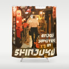 Enjoy Yakitori Ad Shower Curtain