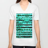 turquoise V-neck T-shirts featuring Turquoise by allan redd