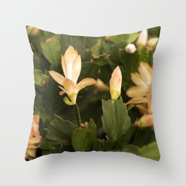 Christmas Cactus Buds and Blooms Throw Pillow