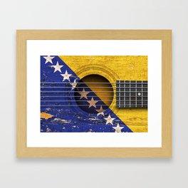 Old Vintage Acoustic Guitar with Bosnian Flag Framed Art Print