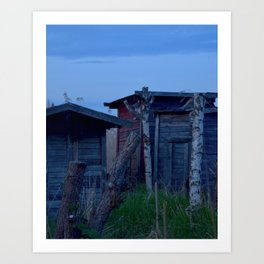 Down by the Harbour 1: Sheds in the Reeds Art Print
