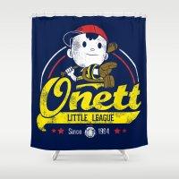 league Shower Curtains featuring Onett little league by TeeKetch