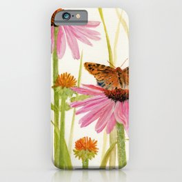 Pink Coneflower Butterfly Watercolor iPhone Case