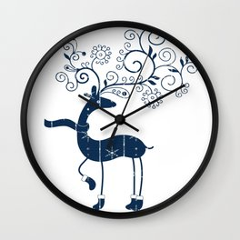 Nordic Reindeer with Blue Winter Snowflake Pattern Wall Clock