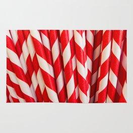 Red Striped Straws Rug