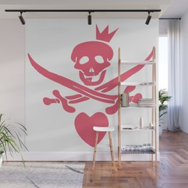 Funny pink glamorous Jolly Roger flag with swords, heart and crown Wall Mural