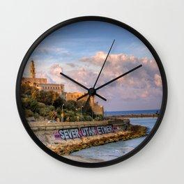 Graffiti on the old city wall of Jaffa, Israel Wall Clock