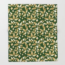Christmas pattern.Gold sprigs on a dark green background. Throw Blanket