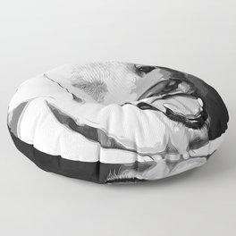 labrador retriever dog winking vector art black white Floor Pillow