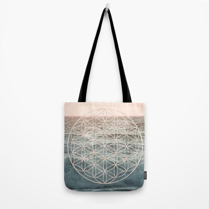 Mandala Flower of Life Sea Tote Bag