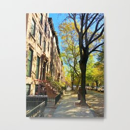 Cobble Hill Brooklyn New York in the Fall, Brownstones Metal Print