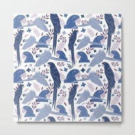 Ara Parrot Blue Tropical Pattern on White Metal Print