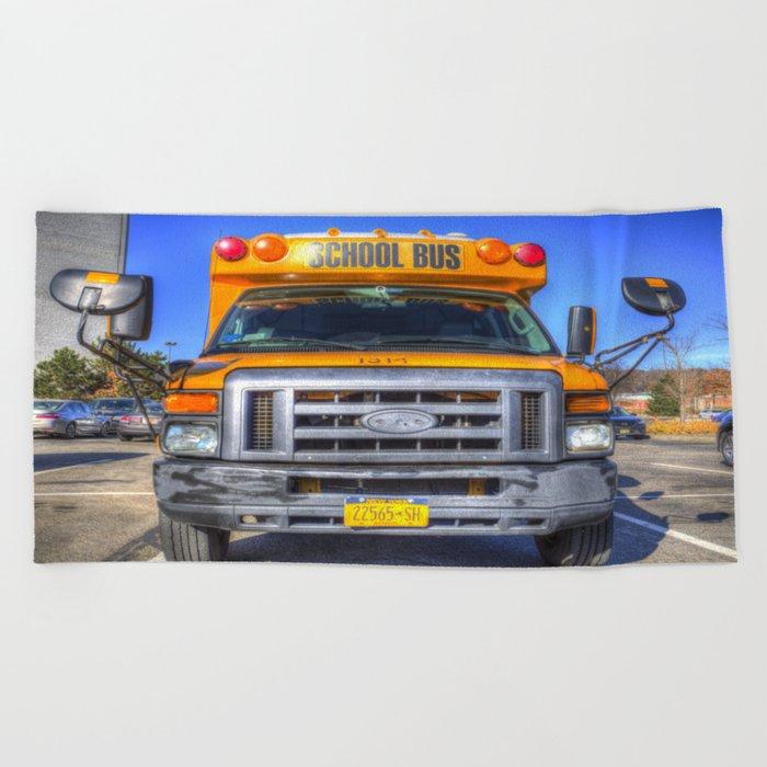 American School Bus Beach Towel by davidpyatt