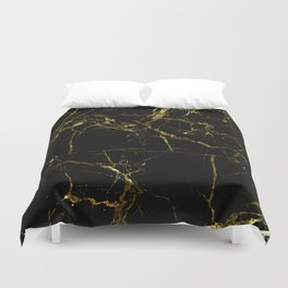 Golden Marble - Black and gold marble pattern, textured design Duvet Cover