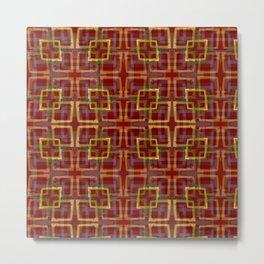 Urban Plaid Square - RED BIG Metal Print