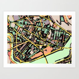 Abstract Map Cambridge MA Art Print