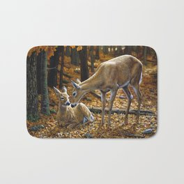 Whitetail Deer and Fawn in Autumn Bath Mat