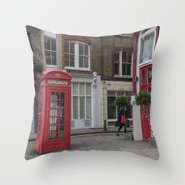 The lady with the red bag London street view  city UK Throw Pillow