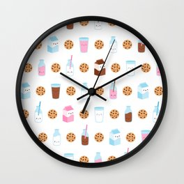 Milk and Cookies Pattern on White Wall Clock