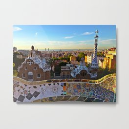 Park Guell, Barcelona, Spain in Sunrise Metal Print