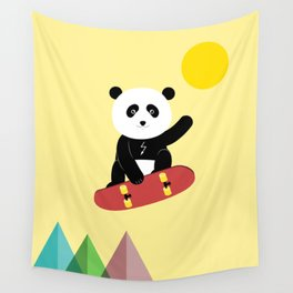 Panda on a skateboard Wall Tapestry