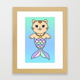 Mermaid cat, mermaid tail, ombre mermaid, mermaid, mercat, pastel art Framed Art Print