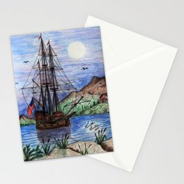 Tall Ship in the Moonlight Stationery Cards