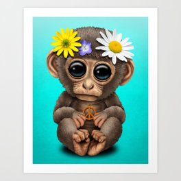 Cute Baby Monkey Hippie Art Print