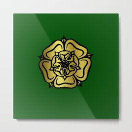 Gold Rose with Green Metal Print