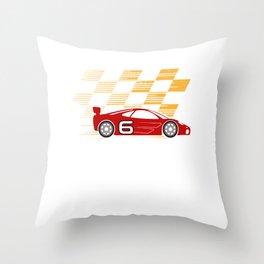 6th Birthday Racing Car Gift 6 Years Race Driver Throw Pillow