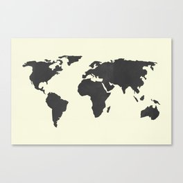 The classic world map chalkboard black on cream linen throw the classic world map chalkboard black on cream linen canvas print gumiabroncs Choice Image
