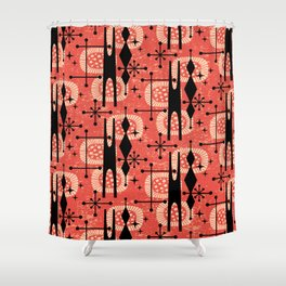 Retro Atomic Mid Century Pattern 771 Red Shower Curtain