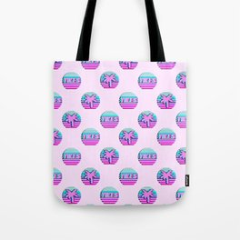 "Vaporwave pattern with palms and words ""yikes"" #2 Tote Bag"
