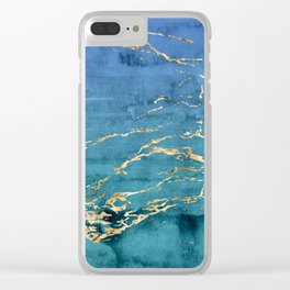 Aqua-Blue Sparse Marble Gradient with Gold Veins Clear iPhone Case