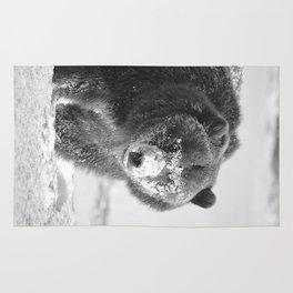 Alaskan Grizzly Bear in Snow, B & W - 3 Rug