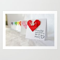 Friendship Comes from the Heart - Origami Art Print