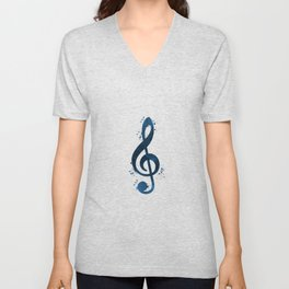 Treble clef Unisex V-Neck
