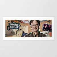 dwight Art Prints featuring Dwight Schrute  by Susan Lewis