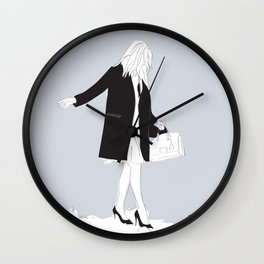 Winter Fashion Girl in the Snow Wall Clock