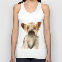 yorkie Tank Tops featuring Yorkie Puppy on White  by barefoot art online