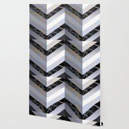 Chevron Pattern 2. Blue, Marble and Glitter #decor #buyart Wallpaper