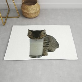 Cute Wild Kitten With A Glass Full of Optimism Rug