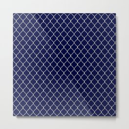Quatrefoil Moonlight Blue Metal Print