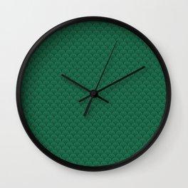 Deco Mermaid Green Scallions  Wall Clock