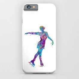 Girl Figure Skating Colorful Watercolor iPhone Case