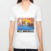 milwaukee V-neck T-shirts featuring 8 Bit Milwaukee by Amanda Iglinski