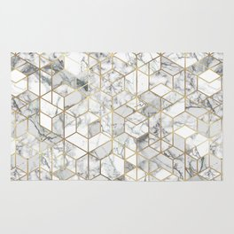 White marble geomeric pattern in gold frame Rug