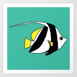 Schooling Bannerfish natural colors Art Print